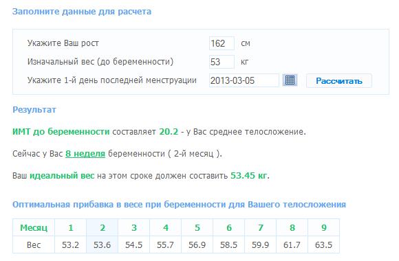Калькулятор набора веса при беременности на 7яру
